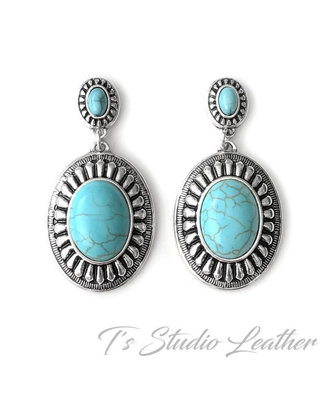 Turquoise Silver Concho Western Style Earrings