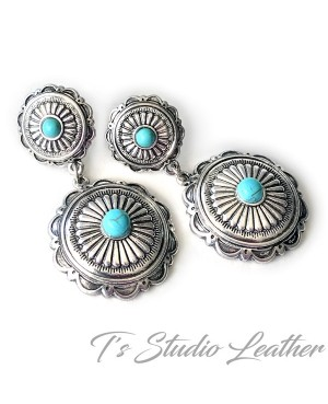 Western Silver Concho Turquoise Earrings