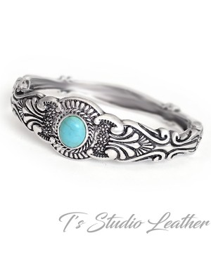 Antique Silver and Turquoise Bohemian Bracelet