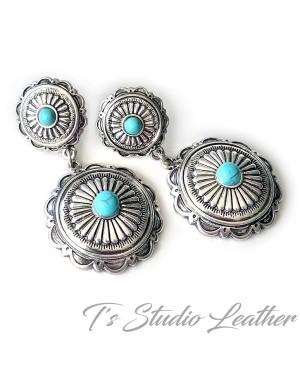 Western Silver Turquoise Bracelet & Earrings Set