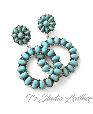 Large Cowgirl Turquoise Hoop Earrings