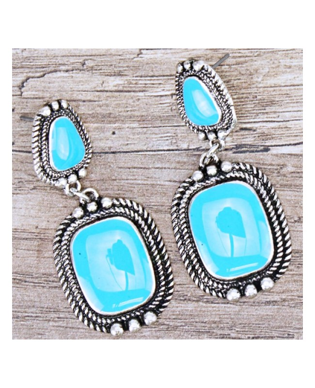 Antique Silver & Turquoise Earrings