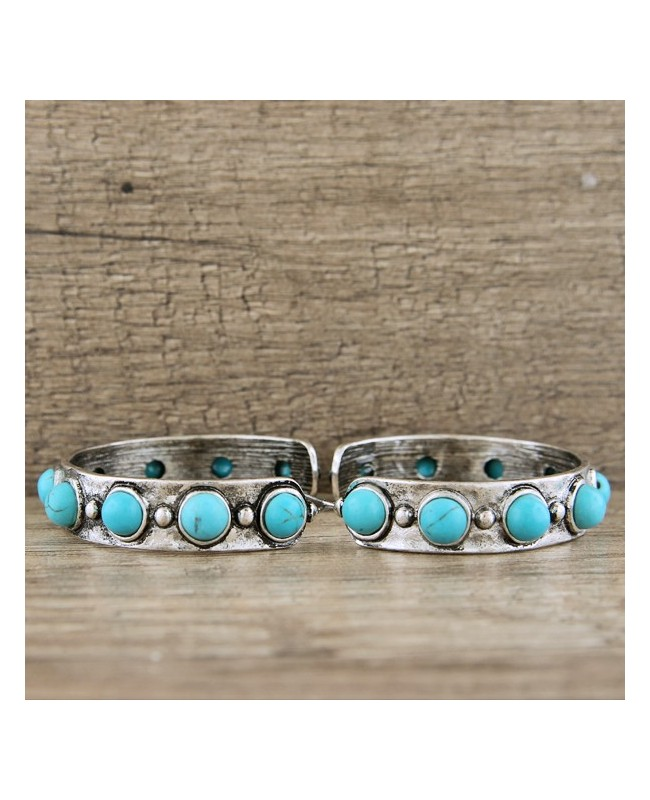 Western Style Silver & Turquoise Hoop Earrings