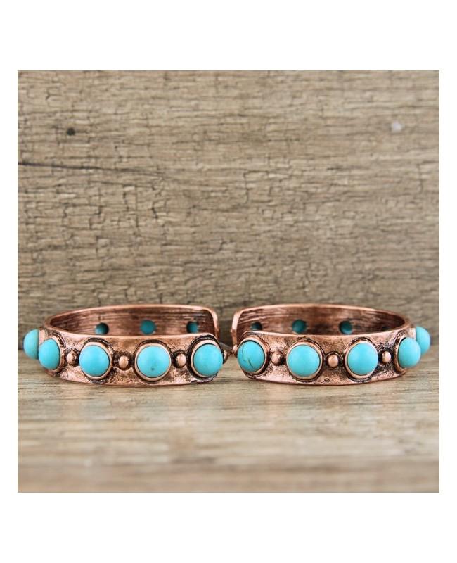 Western Style Silver & Turquoise Hoop Earrings