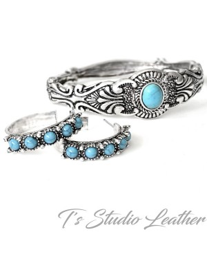 Western Silver Turquoise Bracelet & Earrings Set