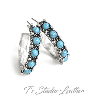 Small Hoop Silver & Turquoise Earrings