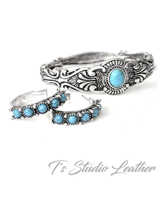 Small Hoop Silver & Turquoise Earrings