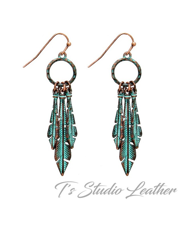 Copper Patina Feather Turquoise Chandelier Earrings