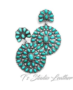 Cowgirl Turquoise Concho Statement Earrings