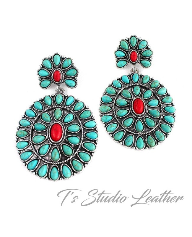 Turquoise & Red Concho Statement Earrings
