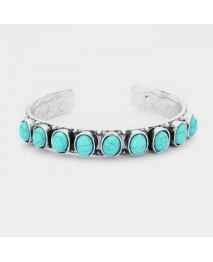 Chunky Turquoise Silver Western Earrings