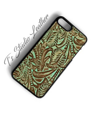 Western Turquoise Brown Leather Phone Case in floral pattern by Ts Studio Leather