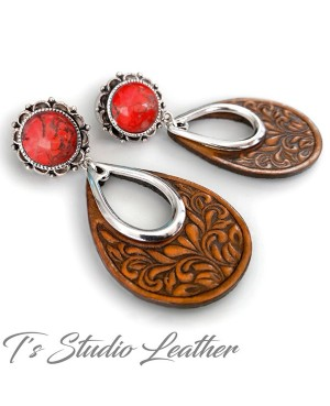 Western Tooled Leather Hoop & Red Jewelry Set