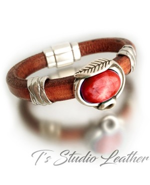 Whiskey Brown Leather Bracelet with Red Coral Slider