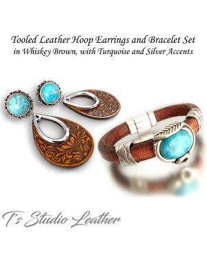 Leather Bracelet Whiskey Brown Regaliz Licorice Cuff Wristband with Turquoise Focal Slider