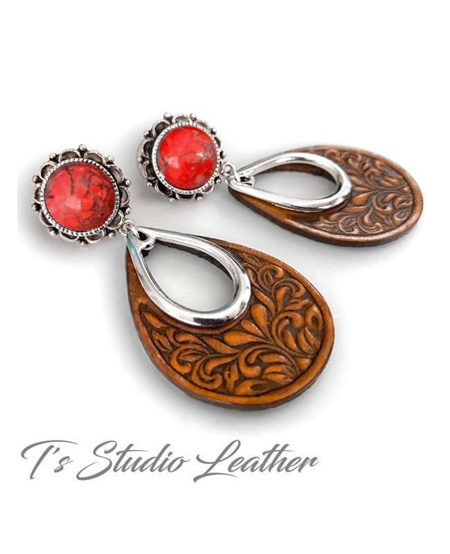 Brown Tooled Leather Hoop Earrings with Red Coral and Silver Accents - Floral Motif Boho Jewelry