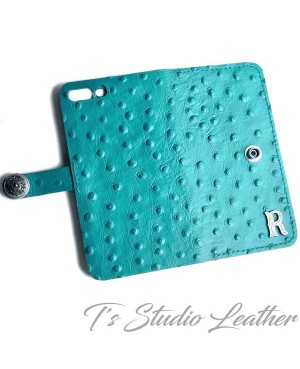 Turquoise Ostrich Personalized Leather Wallet Phone Case
