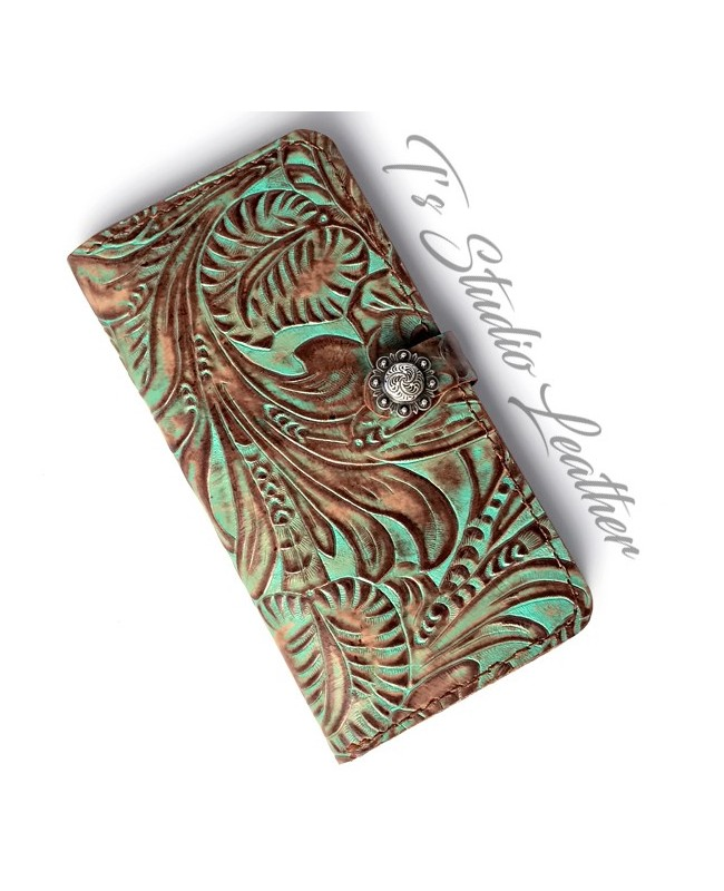 Western Turquoise Floral Leather Wallet Phone Case
