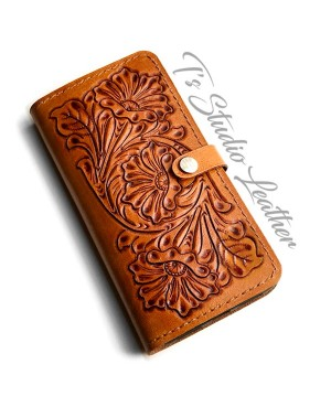 Hand Tooled Leather Phone Case - Tool Leather Western Style floral folio style case