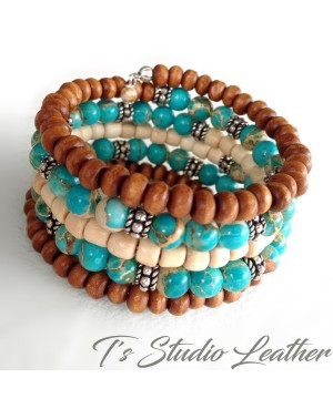 Boho Turquoise Aqua Jasper and Brown Wood Hoop Earrings with ruby accents