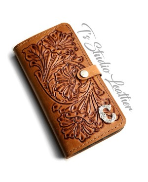 Hand Tooled Leather Phone Case - Western Style floral folio style case