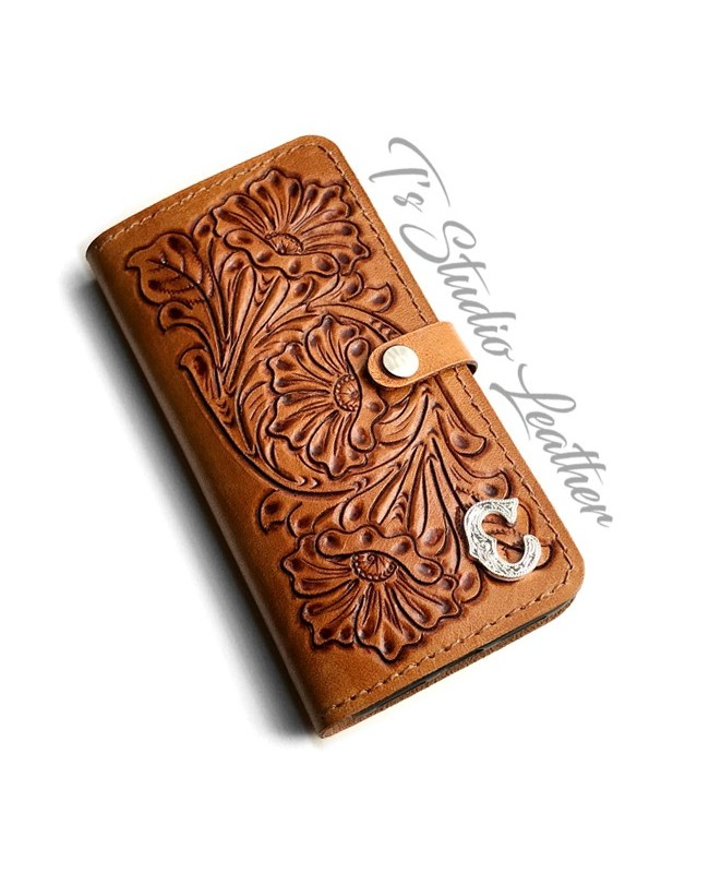 Ts Studio Leather Hand Tooled Phone Case - Western Style floral folio style case