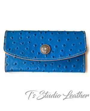 Blue Ostrich Embossed Leather Tri Fold Wallet