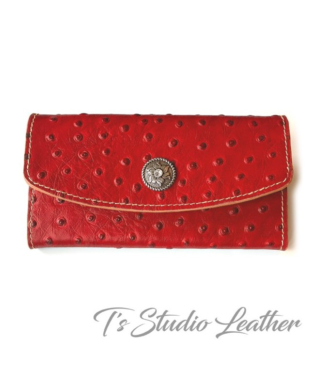 Red Ostrich Embossed Leather Tri Fold Wallet