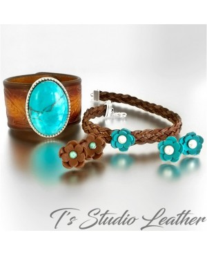 Leather Choker Necklace & Earrings Set - Brown Braided Leather with Turquoise and Pearl Flowers