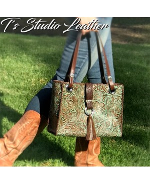 Western Turquoise Brown Leather Handbag