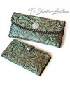 Turquoise Brown Western Style Womens Wallet