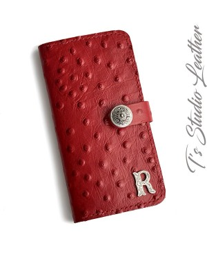 Red Ostrich Embossed Leather Tri Fold Wallet Matching Phone Case