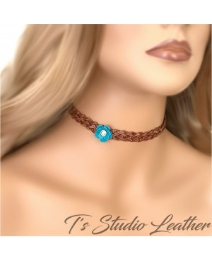 Brown Braided Leather Choker Flower Necklace