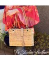 Whipstitched Cork Handbag Tote with Silver Flecks