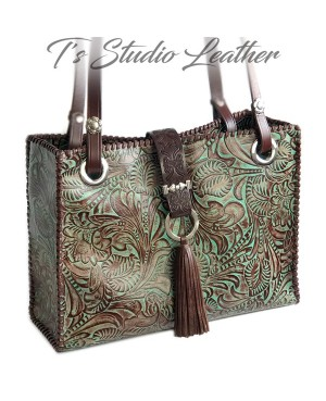 Floral Tooled Tote in Turquoise and Brown Embossed Leather