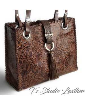 Floral Tooled Tote in Rich Whiskey Brown