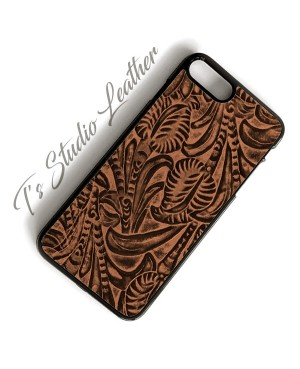 Western Brown Floral Leather Phone Case